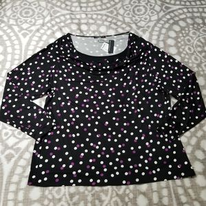 Cable & Gauge Size 2X Long Sleeve Polka Dot Shirt
